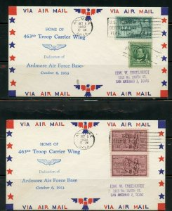 US POSTAL HISTORY OF STATE OF OKLAHOMA LOT OF 12 COVERS 1938-1960 AS SHOWN