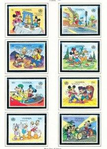 UGANDA - Scott 815-824 -  VFMNH - DISNEY Mickey, WHO - 2 scans - 1990