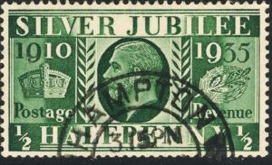 GB 1935  HAMPTON  ( / MIDDLESEX)  ds on KGV Jubilee SG453Wi 1/2d invt'd Wmk