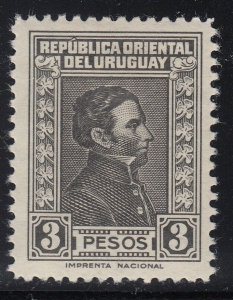 Uruguay 1936-44 3p Black Artigas LM Mint. Scott 483C