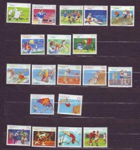 J23787 JLstamps 1989-90 australia set mnh #1106-24 sports
