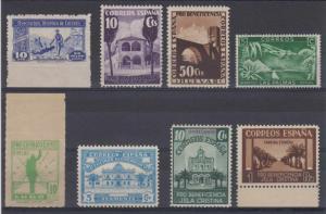 SPAIN 1930+ PRO BENEFICENCIA, COMBATIENTES 8 STAMPS HUEVAR, LAS PALMAS, AYAMONTE