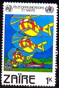 Helicopters, World Telecommunications Day, Zaire SC#1043 MNH