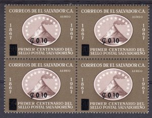 Salvador 1973 Sc#C350 VOLCANO SAN MIGUEL ovpt.new value block of 4 MNH