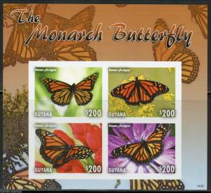 GUYANA THE MONARCH BUTTERFLY SHEET I  IMPERFORATED MINT NH