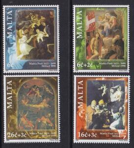 Malta   #958-961  MNH  1998   Christmas paintings by Preti