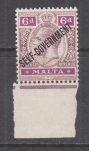 MALTA, 1922 KGV, Self Government overprint, Script CA, 6d., marginal, mnh.