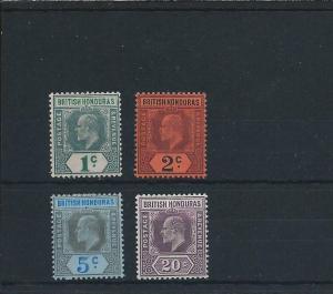 BRITISH HONDURAS 1902-03 SET OF FOUR MM SG 80/83 CAT £40