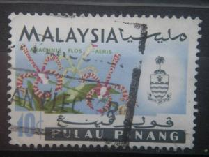 PENANG, 1965, used 10c, Orchids, Scott 71