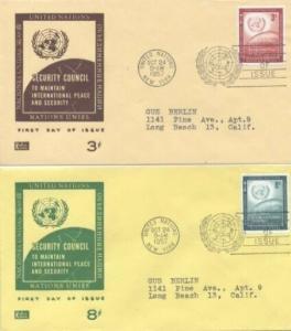 UN #69/70 FLUSHING - Pent Arts set of 2