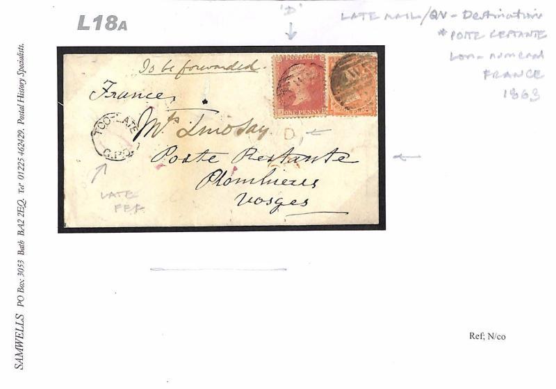 L18a 1863 GB LATE FEE Destination Mail France 'Poste Restante
