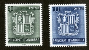 SPANISH ANDORRA 141-2 MNH SCV $2.40 BIN $1.25 COAT OF ARMS
