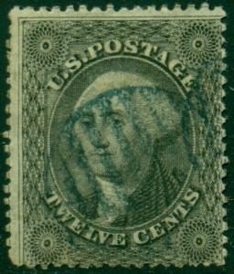 #36 12c 1857 F-VF USED WITH BLUE CANCEL CV $385 BL2308