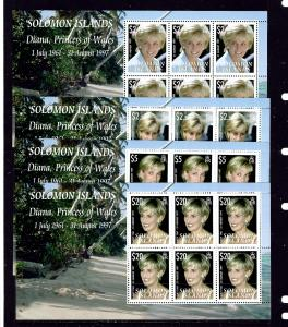 Solomon Is 1096-99 MNH 2007 Princess Diana sheets of 6.  2019