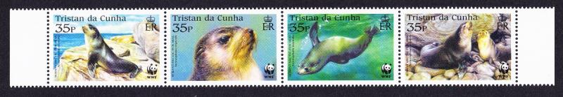 Tristan da Cunha WWF Subantarctic Fur Seal 4v Strip with margins SG#800/03