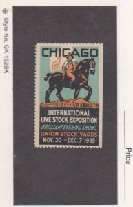 1935 Chicago International Live Stock Exposition Union Stock Yard Poster Stamp