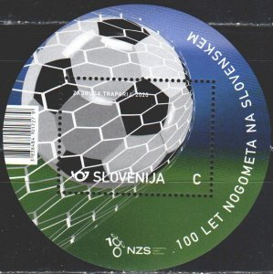 Slovenia. 2020. bl 125. 100 years of football in Slovenia, ball. MNH.