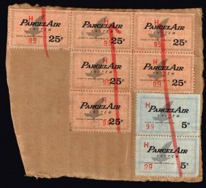 US STAMP BOB AMERICAN SHIPPING INC. PARCEL AIR SYSYTEM STAMPS ON PAPER