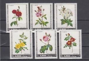 Ajman, Mi cat. 405-410 A. Various Roses issue. ^