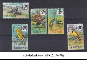 LESOTHO - 1981 BIRDS - 5V - MINT NH, BEAUTIFUL BIRD STAMPS