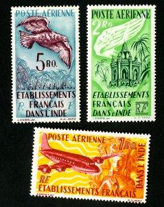 French India Stamps # C14-16 VF OG LH
