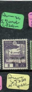 BURMA JAPANESE OCCUPATION (P1301B) ON JAPAN SHOWA 20C/8S SG J71  MNG