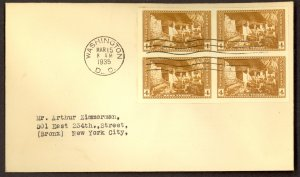 USA 1935 4c MESA VERDE NATIONAL PARKS Block of 4 FDC Sc 759