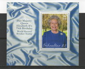 GIBRALTAR 2001 QE2 75TH BIRTHDAY SG MS977 UNMOUNTED MINT