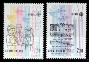 Finland 707-8 MNH Musical Instruments, Music, Children, Bird, Europa