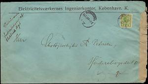 1916 DENMARK SINGLE ON LARGE COVER WITH INSPECTION TAPE