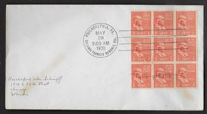 United States, Nine SC 803, May 19,1938 B. Franklin Memorial  station cancel