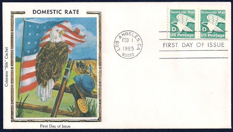 UNITED STATES FDC (22¢) 'D' Rate COIL 1985 Colorano
