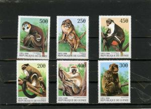 GUINEA 1998 AFRICAN ANIMALS MONKEYS SET OF 6 STAMPS MNH