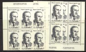 Canada - 1971 7c Pierre Laporte plate blocks mint #558 MS VF-NH