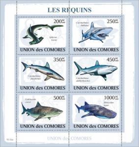 COMORES 2009 SHEET SHARKS LES REQUINS TIBURONES TUBAROES MARINE  LIFE cm9116a