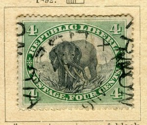 LIBERIA; 1892 early Pictorial issue fine used 4c. value
