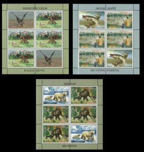 Tajikistan 2020 hunting animals bear birds fish 3 sheetlets MNH
