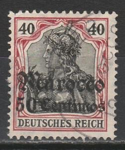 GERMAN P.O. MOROCCO 1906 GERMANIA 50C ON 40PF USED WMK LOZENGES