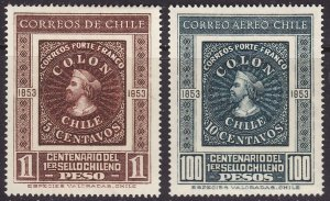 Chile #276, C168 F-VF Mint Hinged * Stamp on Stamp