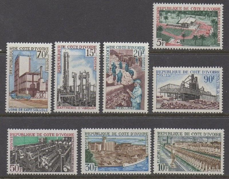 Ivory Coast 1968 Manufacturing Cotton Mill Saw Mill VF MNH (262-9)