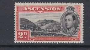 ASCENSION  1938   2D BLACK  & RED ORANGE  PERF 131/2 MNH