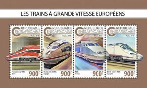 Central Africa - 2018 Euro Speed Trains - 4 Stamp Sheet - CA18811a