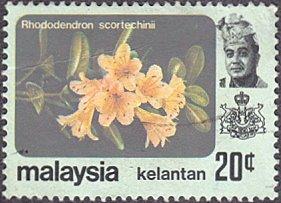 Malaysia - Kelantan # 110 used ~ 20¢ Flowers
