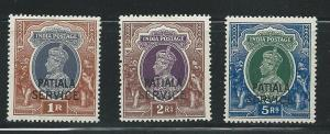India Patiala o74-6 1943-5 KGVI Officals set MH