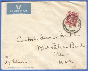JAMAICA 1936 Imperial Airways cover 9d solo, KINGSTON to USA, SG 110
