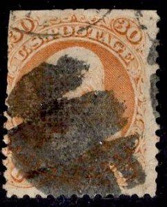 F Grill US Stamp #100 30c Franklin USED SCV $950