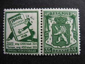 BELGIUM Sc 273 MNH with advertising label: Froede Catalogue (toned,gum crease)
