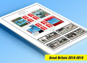COLOR PRINTED GREAT BRITAIN 2018-2019 STAMP ALBUM PAGES (50 illustrated pages)