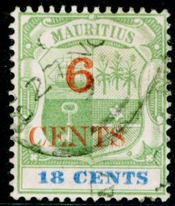 MAURITIUS SG134, 6c on 18c green & ultramarine, FINE USED.