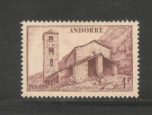 Andorra, French #85 VF MLH - 1944 1fr St. Jean de Caselles